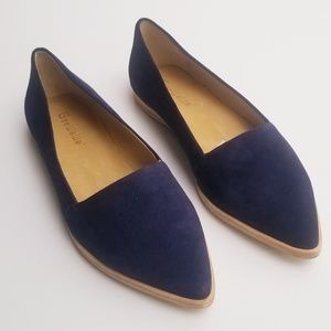 Anthro Gee WaWa Blue Suede Slip-on Loafers 8.5